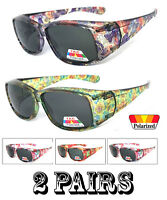 2 Pairs Combo Polarized FIT OVER Sunglasses Cover Rx Glasses Rhinestones