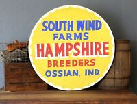 Original Hampshire Hog Breeders South Wind Farm Sign Vintage Advertising Pigs