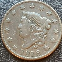 1818 Large Cent Coronet Head One Cent 1c Better Grade Higher XF #23951