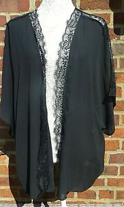 Ladies 3/4 Sleeves Light Weight Cover Up- Black/ Lacey Trim- UK Size 22