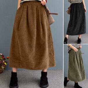 ZANZEA Women Casual Loose Corduroy Midi Dress Elastic High Waist Skirt Plus Size