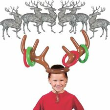 Gift Mistletoe Rings Toss Game Inflatable Toy Reindeer Antler Hat Christmas