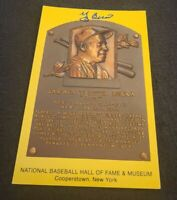 YOGI BERRA SIGNED MLB HOF PLAQUE POSTCARD NY YANKEES NYY W/COA+PROOF RARE WOW