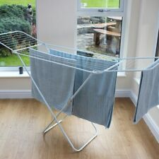 18m Folding Winged Clothes Horse Airer Drying Space Laundry Dryer Rack Dry
