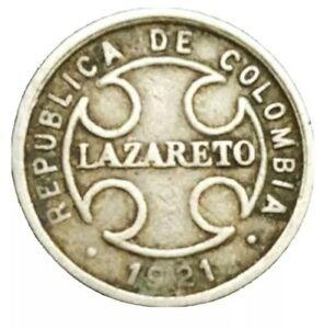 1921 COLUMBIA 2 CENTAVOS KM L10 LAZARETO LEPER CIRCULATED OLD COIN