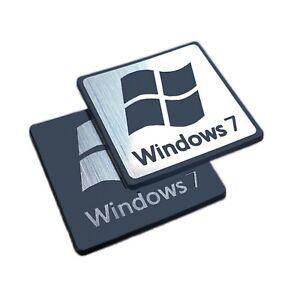 Windows 7 Sticker Set -  Aufkleber Metallic Aluminum Logo - 25.4 mm x 25.4 mm