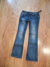 MISS ME BOOT JEANS White Leather & Crystal Pockets JP5895BV Med Blue Sz 29 NWT