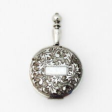 Japanese Engraved Handled Round Patch Box 950 Sterling Silver