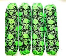 Shock Covers Kawasaki Brute Force 650 750 Neon Green Skulls ATV Set of 4