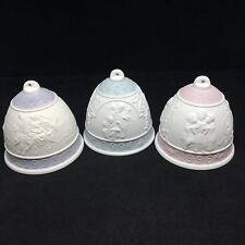 Set of 3 Lladro 1993 1994 1996 Bisque Porcelain Christmas Bell Ornament