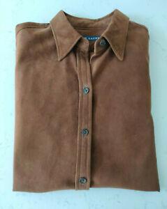 Women's Vintage Ralph Lauren Blue Label Suede Shirt - Size 4 / Small
