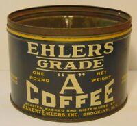 Old Vintage 1930s 1938 ALBERT EHLERS COFFEE TIN ONE POUND BROOKLYN NEW YORK USA