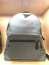 NWT Coach F23247 Men's West Backpack In River Blue Pebble Leather $595