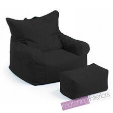 Black Budget Bean Bag Chair + Foot Stool Gamer Armchair Garden Beanbag Seating