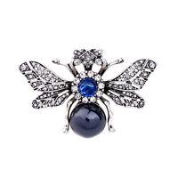 Broche Argenté Cigale Insect Bleu Perle Pavé Original XZ6
