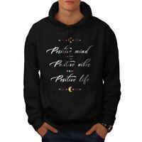 Wellcoda Positive Mind Mens Hoodie, Vibes Life Casual Hooded Sweatshirt