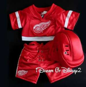 Build-A-Bear DETROIT RED WINGS HOCKEY UNIFORM 3 PC JERSEY Teddy Costume Clothes