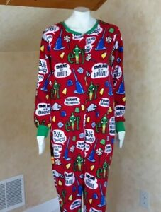 Aloho-ho Santa Beach Drop Seat Christmas Fleece Pajamas Union Suit Adult Womens