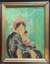 Superbe Huile Expressionniste BETTINA KLEIN (1898 -1986) Jeune Femme à l'enfant