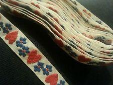 Vintage Folk Art Ribbon Hearts Trim Red White Blue July 4th Christmas Holiday