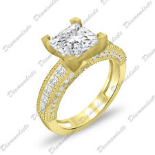 Over 925 Silver Wedding Engagement Ring 4Ct Princess Cubic Zirconia Cz 14K Gold