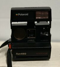 Vintage Black Polaroid Land 600 Camera Sun Auto Focus 660 With Strap