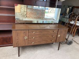 Vintage 1960's Schreiber Brown Wood Formica Dressing Table Drawers Mirror Doors