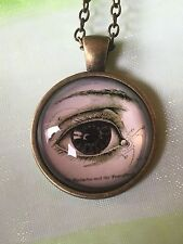 Anatomical Human Eye Ball Glass Cabochon Dome Pendant Necklace. Hand Made. NEW