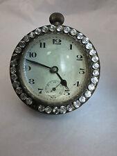 Gran bola de Cristal Redondo Reloj Francés Rara Con Piedras De Cristal Aprox 1860 sreduced