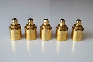 Set of 5 quality brass E27 Edison screw in bulb holder light lamp cord grip L14