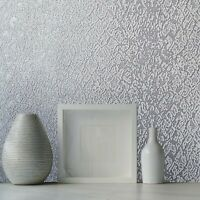 Embossed Ombre gray silver metallic plain faux fabric modern textured Wallpaper