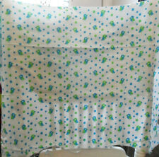"Vintage 60's Cotton FABRIC Mod Teal Green BIRDS, Polka Dots On White, 31""W, 28""L"