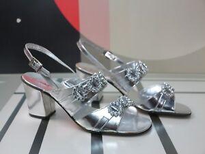 Damen Sandalen Abendschuhe 38 Silvester Silber 70er TRUE VINTAGE  silver sandals