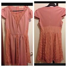 Dorothy Perkins MAYA UK Size 12 Pink Peach Lace Dress Cap Sleeves Short Dress