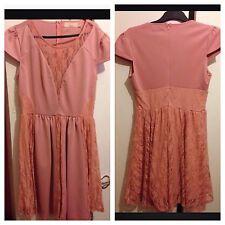 Vestido de encaje Dorothy Perkins Maya UK Size 12 Rosa Melocotón Vestido Corto Mangas Casquillo