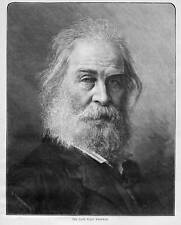 WALT WHITMAN ANTIQUE PORTRAIT POET HISTORY WALT WHITMAN 1892 HARPER'S WEEKLY