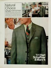 1969 Hart Schaffner Marx Raquet Club Suit Plaid Tennis Olive Original Print Ad