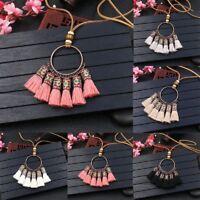 Vintage Leather Boho Tassel Pendant Necklace Women Long Sweater Chain Jewelry