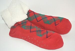 OLD NAVY WOMEN'S SHERPA SLIPPER SOCKS COZY GRIP ONE SIZE RED WHITE PLAID NEW