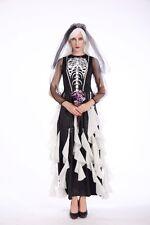 Ladies Ghost Bride Black Wedding Halloween Costume Fancy Dress Party ladcos42