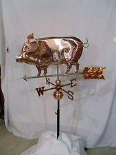 LARGE Copper PIG Weathervane  Polished  Finish with FREE ROOF MOUNT !!!