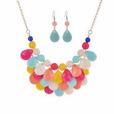Fashion Vintage Women Chain Pendant Statement Collar Bib Necklace Earrings Set