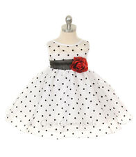 New Baby Girls Ivory Brown Polka Dot Dress Pageant Wedding Christmas Infant 247
