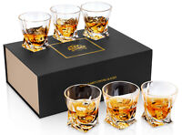 KANARS Whiskey Glass Crystal Whisky Scotch Bourbon Tumbler Cups 10 Oz - Set of 6