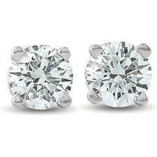 1/4ct Diamond Stud Earrings Solid 14K White Gold