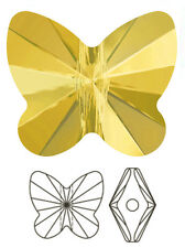 ONE SWAROVSKI CRYSTAL BUTTERFLY BEAD / PENDANT 5754, SUNFLOWER YELLOW, 10 MM