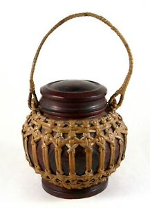 """Vintage Chinese Wedding Basket/Box Lacquered Lidded Hand-Made 11"""" w/Handle"""