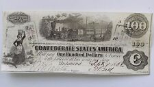 T-40 $100. Confederate States of America Note High Grade About-Uncirculated