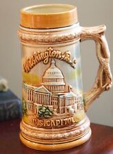 "WASHINGTON D.C. SOUVENIR MUG RASIED DESIGN CAPITOL VINTAGE JAPAN BEER STEIN 7"" H"