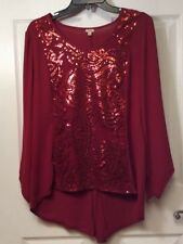 7245d2ab4d Reba Woman s Red Sequins Size S Small Tunic Top High Low  88. NEW